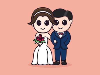 On My Wedding Day feminine bride couple wedding colorful cute mascots cartoon playful logo design youthful illustration character