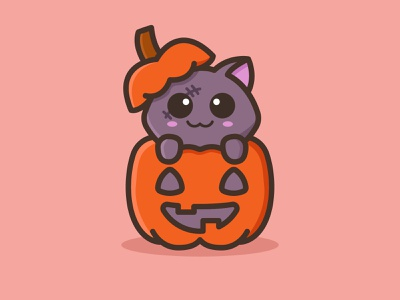Little Undead zombie pumpkin halloween design scary halloween little cat cute mascots cartoon playful logo feminine design youthful illustration character animal cat