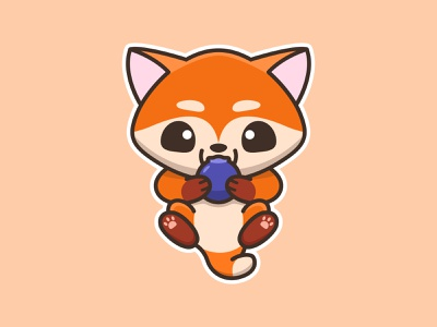 Ferry The Fox sticker design baby cute art fox berry animals sticker cute mascots cartoon inspiration playful logo design youthful illustration character