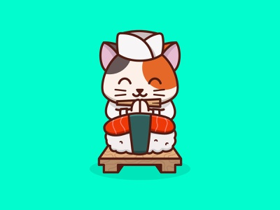 Master Chef Sushi Cat food cartoons japan cooking sushi animal cat colorful cute mascots cartoon playful logo design youthful illustration character