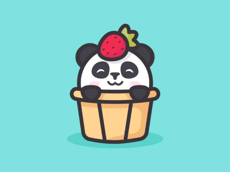 Cupcake and Sweet Panda design illustration strawberry feminine sweet panda cupcake logo character