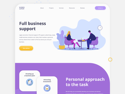 Business support Landing Page Design simple site support business vector ui  ux landing page illustration clean modern web design uidesign ui