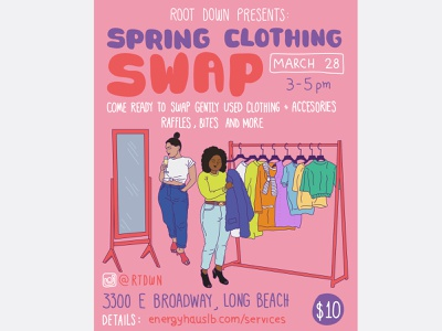 SPRING CLOTHING SWAP flyer artwork flyer design swapping used clothes illustration flyer spring clothing swap spring clothing swap