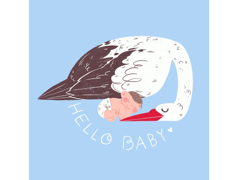 baby greetingcard blue illustration greetingcard babyshower baby