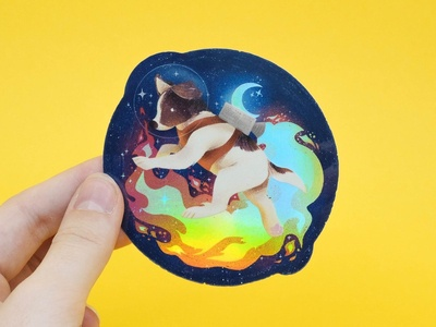 space dog Holographic Sticker
