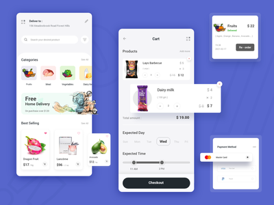 Grocery e-commerce app app app designer payment shopping list screen cart mobile uiux shopping app minimal design android trend 2021 grocery grocery app e-commerce shop e-commerce app e-commerce colorful ux mobile ui app design ui