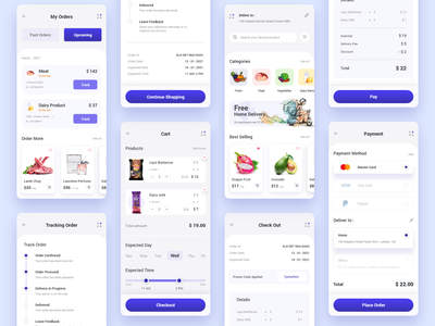 Grocery e-commerce - Mobile app 2021 trend checkout orders page minimal clean app design user interface design user experience user interface ui mobile app design payment form shopping cart shopping app grocery store grocery app e-commerce design e-commerce shop e-commerce app app design app ux ui