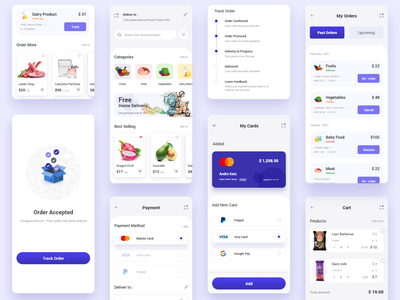 Grocery e-commerce - Mobile app grocery app online shopping app clean ui minimal trendy design uiux user experience designer user interface design mobile app design mobile app success order payment shopping app e-commerce shop e-commerce app e-commerce app ux ui
