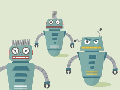 Bad Bots flat vector robot illustration bot