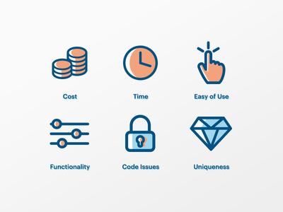 Custom Coded vs Theme Based theme development functionality custom illustration wordpress icon
