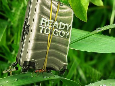 Ready to GO!? ant digital art digital photoshop photomanipulation samsonite trolley darts davide tarsi davide tarsi