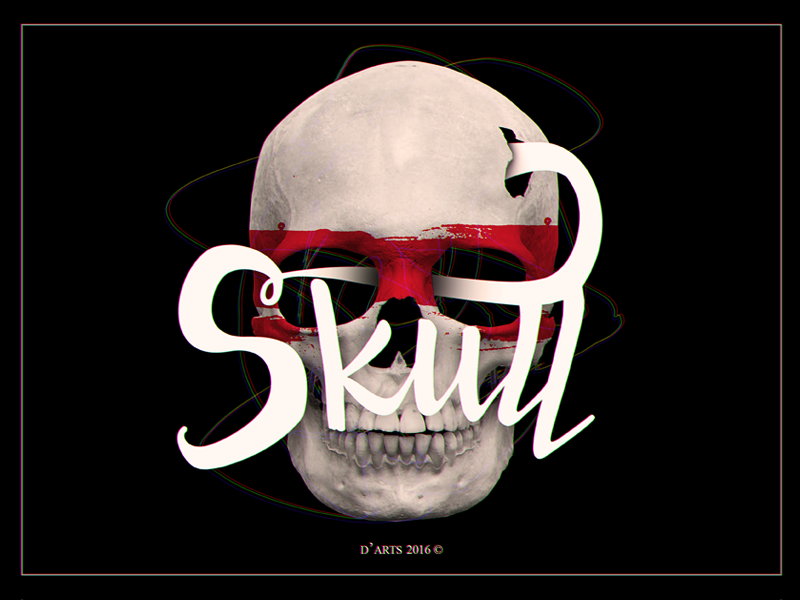 Skull doodle doodle lettering calligraphy typography black skull