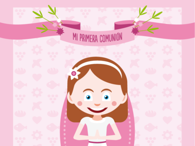 Funny cards and portraits for communion cards & special events avatar manga kawaii illustration funny flat vector portrait design card communion card communion
