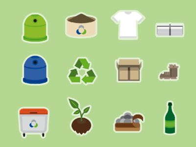Recycling Icons Vector Infographics Illustration bin trashbin style graphic design flat vector illustration infographic icons recycling recycle