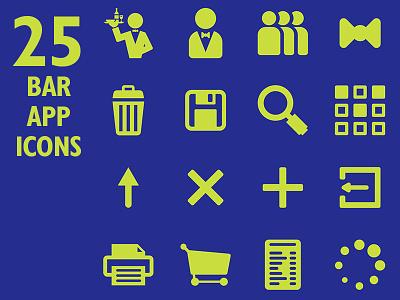 Restaurant App Icon Set & Web Font web font flat design symbol font app food bar restaurant set icon vector