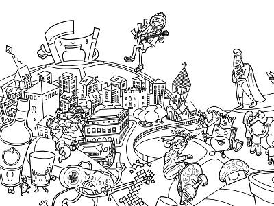 Metropoli Gijon Vector Illustration Line Art drawing kawaii comic anime manga cartoon digital vector illustration gallery cintiq wacom