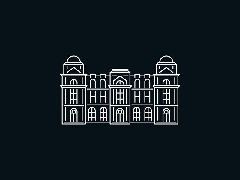 Queen Street Logo illustration new zealand building line icon logo