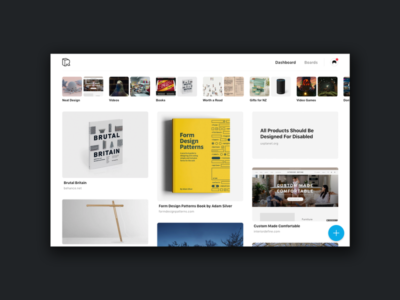 Rember Dashboard bookmarks website dashboard