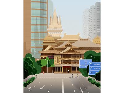 Shanghai, Jing'an Temple shanghai city big vector illustraion