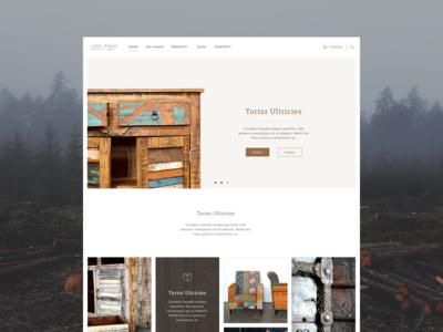 Ethnic furniture website website e-commerce furniture flat grid brown web design ui design
