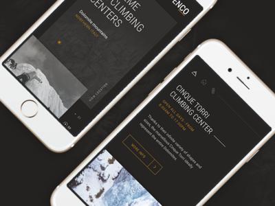 Enco - Extreme climbing centers ui minimal interface black ui design website