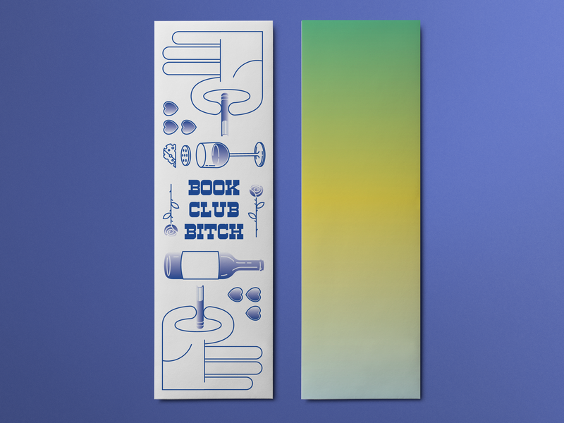 Bookmarks for Book Club illustration vector library reading book bitch gradient gals cheese wine rose pinch bookmark