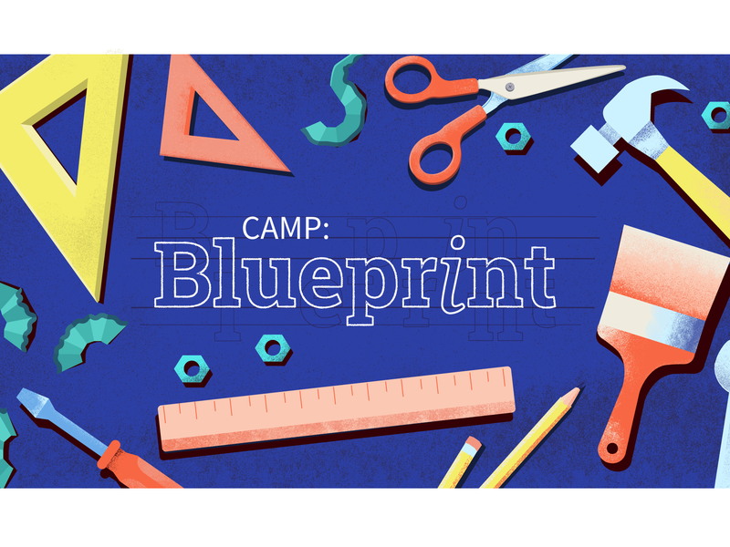 Rejected Youth Camp Graphic pencil art scissors bolts hammer paint brush ruler noto serif text vector design blueprints grain texture digital art illustration blueprint camp event tools