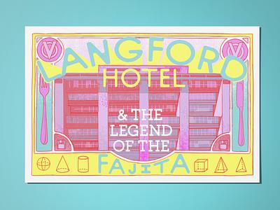 Langford Hotel Postcard cutlery postcard building illustration loose design eat 3d colorful visualization mystery murder langford