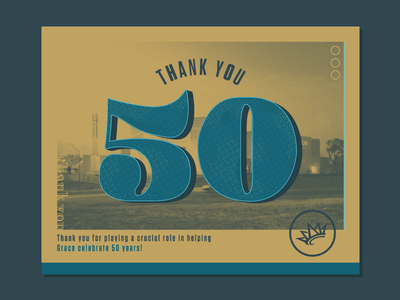 Thank You Post Card   50th Anniversary celebration thanks thank you tungsten texture photoshop crown volunteers mail postcard grace anniversary fifty 50 gold ministry church