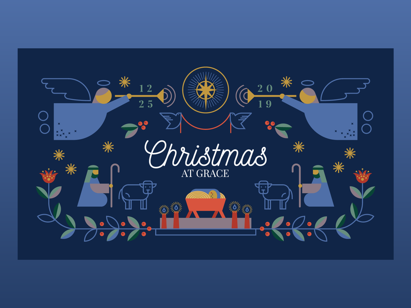 Christmas at Grace illustration christmas eve folk holly star angel shepherd jesus sermon church holiday christmas