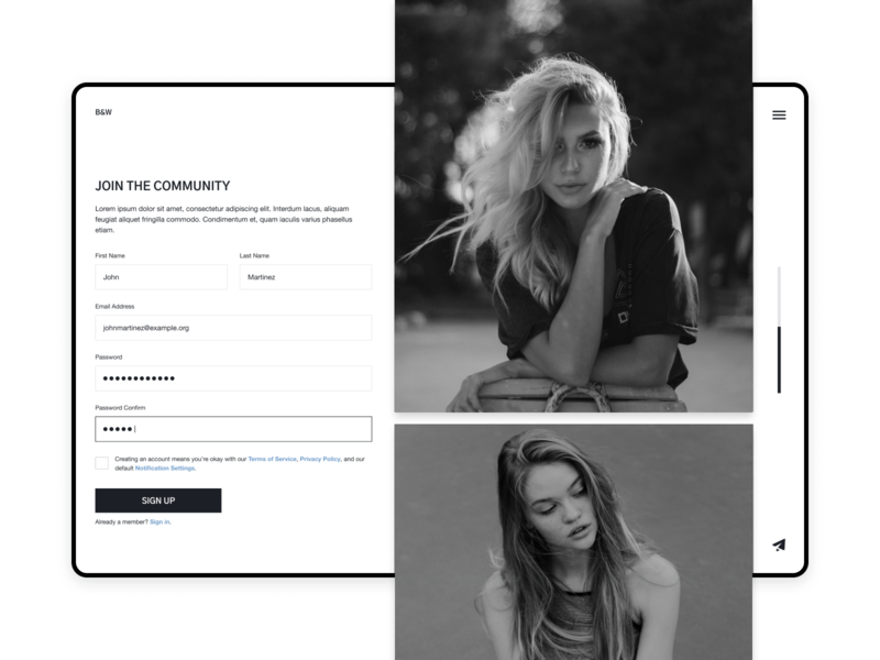 Fashion Sign Up Page