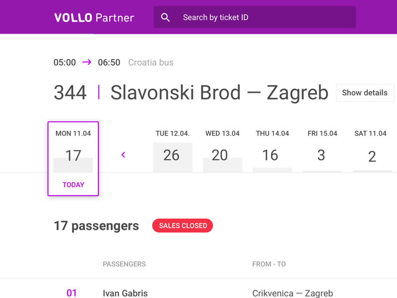 Vollo Partner page dashboard admin bus calendar ux ui data web interface vollo