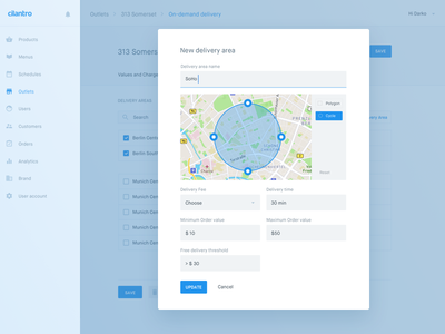 Delivery area — Cilantro panel admin cms material design simple clean white interface design ux ui backend recent work rw