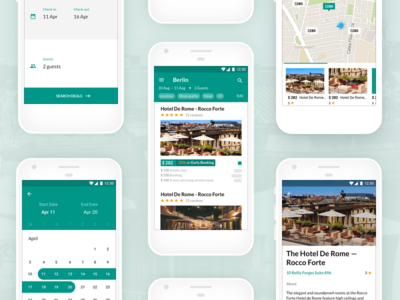 SelectRooms - All screens ui ux booking simple clean android