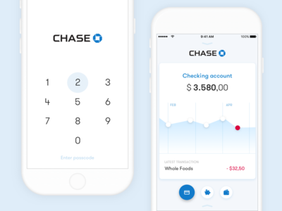 Mobile banking concept fintech mbanking cards ios ui ux chase concept banking mobile