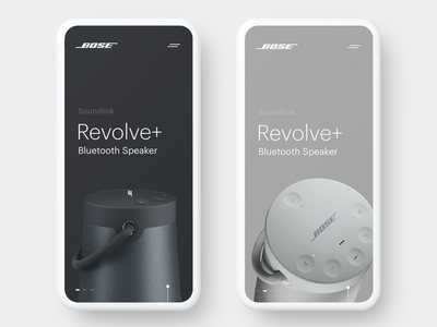 Bose Revolve+ Bluetooth Speaker Concept clean simple animation smooth product slider bose ui ux