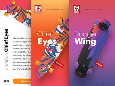 Landyachtz App Concept colours typography app clean simple product slider landyachtz ui ux