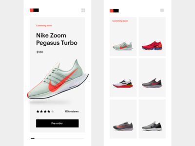 Grid vs Slider smooth animation simple shoe list card slider grid