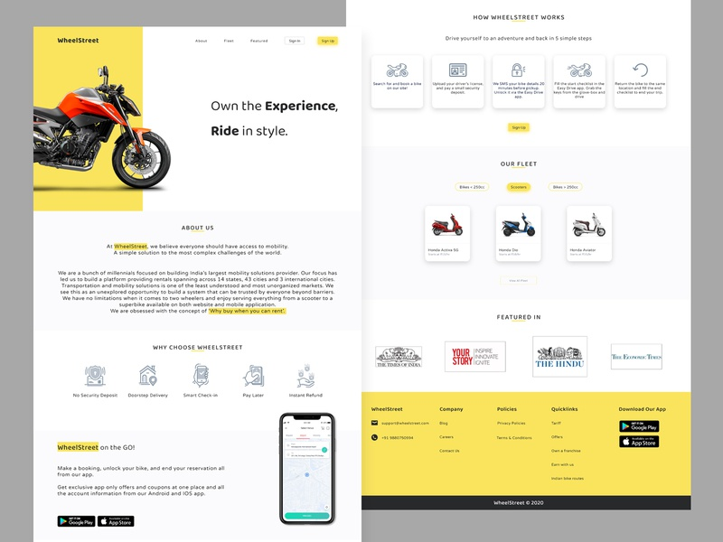WheelStreet - Bike Rental Website website design branding ux ui