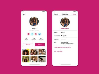 Daily UI 007 - User Profile app user profile app design figma 007 daily ui challenge daily ui design ui profile user user profile ui design