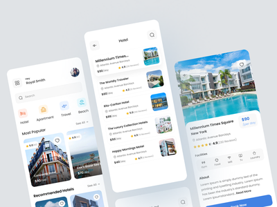 Booking Mobile App property booking clean design travel booking app realestate booking app ui ux ui apartment booking travel app hotel booking