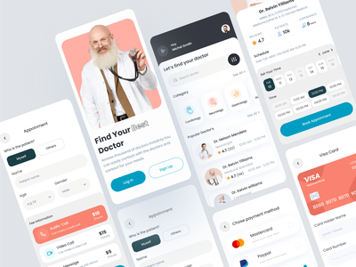 Doctor Mobile App booking app cleandesign mobile app online appoinment ui ux design clinic app online doctor app personal doctor medical app doctor app