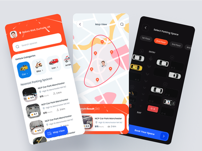 Parking Mobile App car parking parking mobile app ux ui interface design tacking app clean design mobile app booking app parking space parking lot parking app