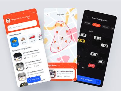 Parking Mobile App car parking parking mobile app ux ui interface design tacking app clean design mobile app booking app parking space parking lot parking app