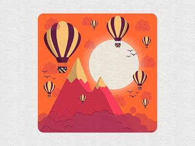 Hot air balloons inspiration illustration digitalart colorful vector sunset concept clouds sky design sun mountains balloon hotairballoon