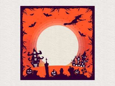 Halloween party card cemetery spooky moon pumpkin witch halloween design party inspiration colorful halloween party flyer illustration halloween flyer