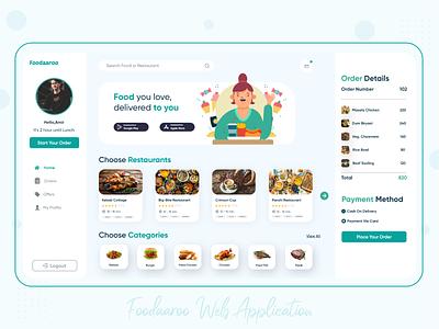 Foodaaroo - Food Ordering Web App trending 2020 trends uiux webdesign app ui illustration digital illustration app design uidesign