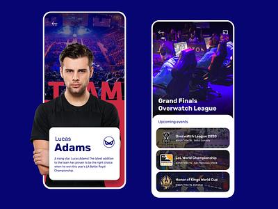 E-sports Competitive Team Concept esports mobile ui  ux adobe xd ui design