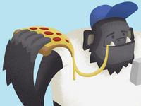 Kong likes pizza