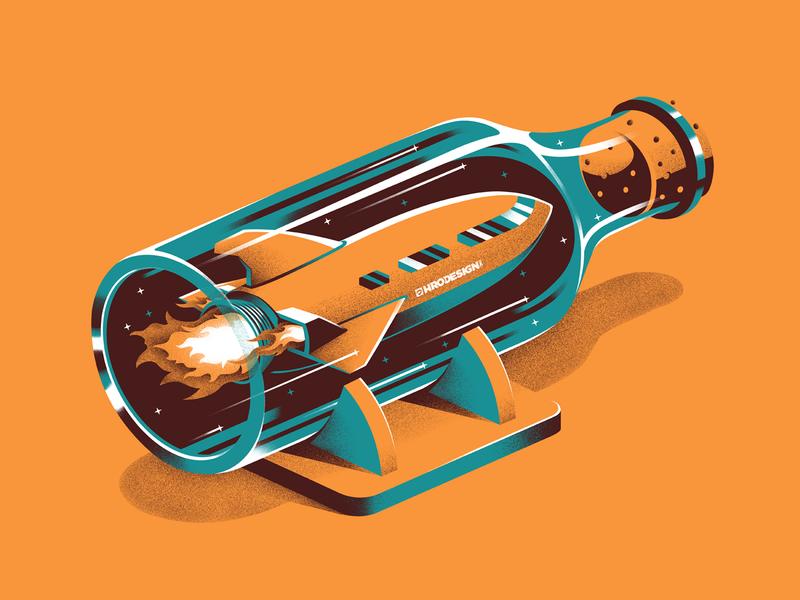 Ship in a Bottle stippling space branding illustration